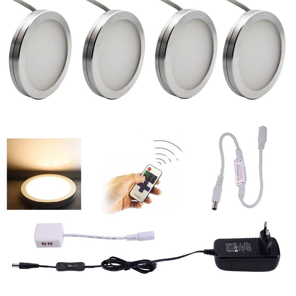 AIBOO LED Sous L'éclairage De Coffret 4 pièces LED Rondelle Llights avec Télécommande Sans Fil RF Dimmable pour Sous Le Comptoir, Meuble Étagère Lumières