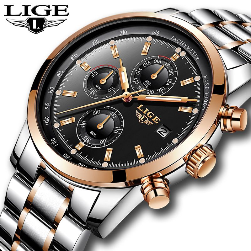 Relojes Hombre 2018 New LIGE Mens Watches Top Brand Luxury Business Fashion Quartz Watch Men Military Sport Waterproof Watch+Box