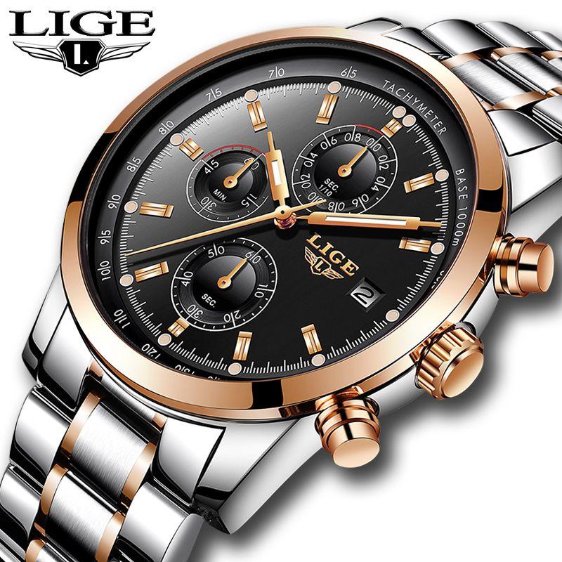 Relojes Hombre 2018 New LIGE Mens Watches Top Brand Luxury Business Fashion Quartz Watch Men Military Sport Waterproof Watch+Box