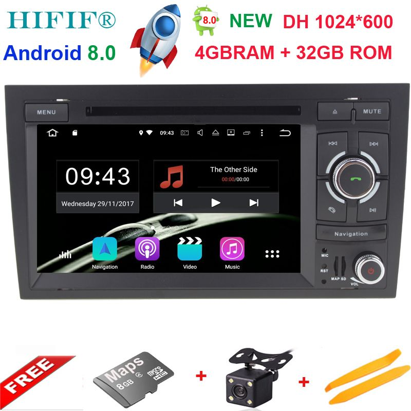 4+32G 2 Din 7'' Android 8.0 Octa Core Radio Car DVD Player for Audi A4 B6 B7 S4 B7 B6 RS4 2002-2008 RS4 B7 SEAT Exeo 2008-2012