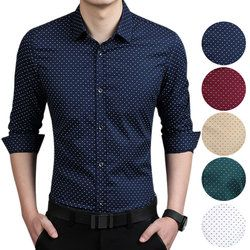 Fashion Men Slim Fit Long Sleeve Shirt Polka Dot Casual Business Shirt Tops Plus Size 5XL H9