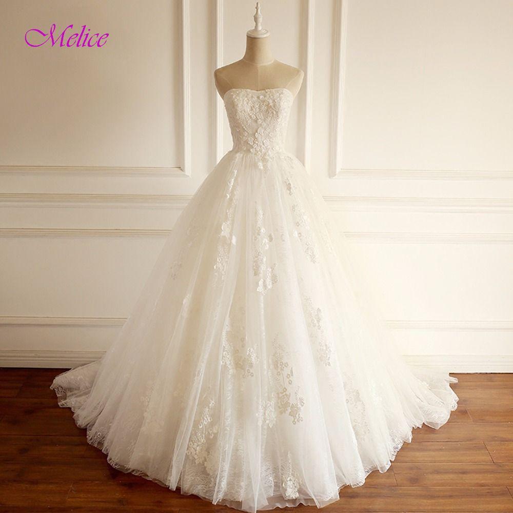 Melice Gorgeous Appliques Lace Chapel Train A-Line Wedding Dresses 2018 Strapless Beaded Princess Wedding Gown Vestido de Noiva