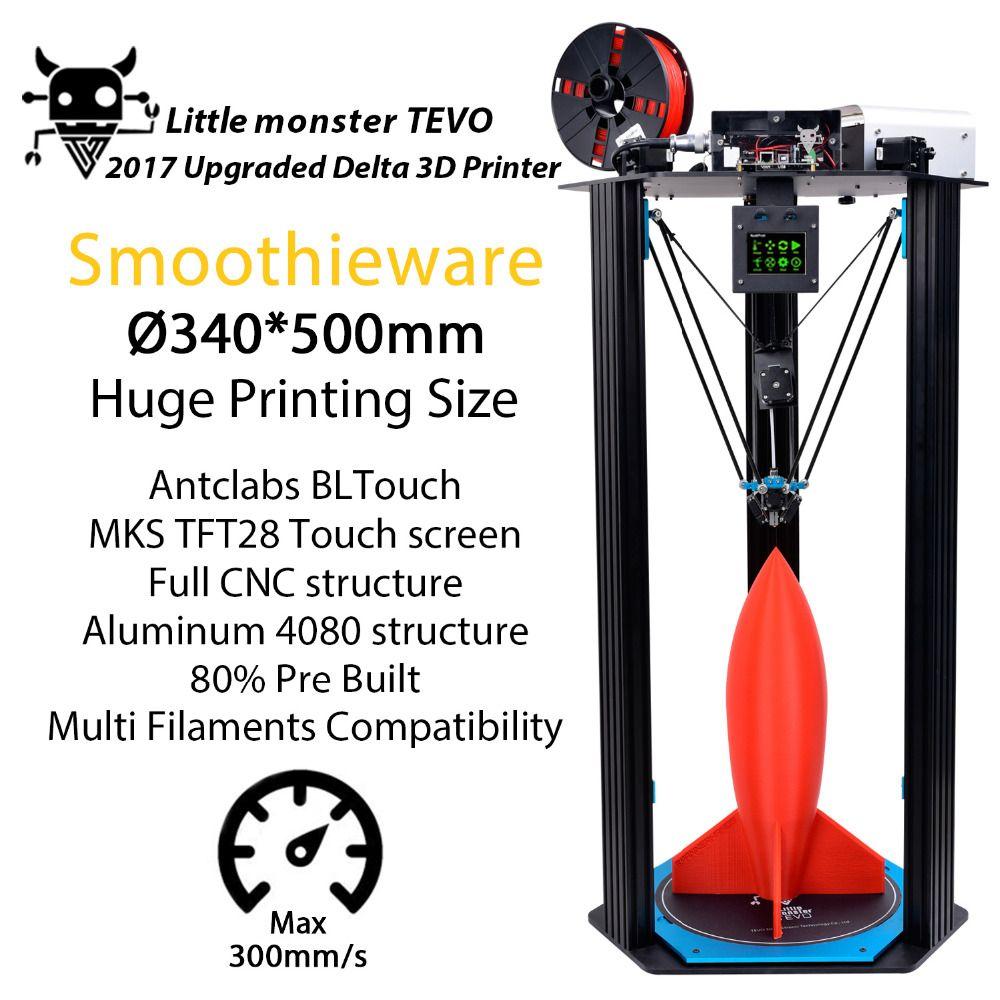 2017 Date TEVO Petit Monstre Delta 3D Imprimante Grande Zone D'impression OpenBuilds D'extrusion/Smoothieware/MKS TFT28/Bltouch