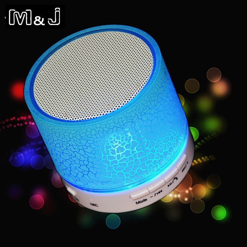 Hot Sell M&J New LED MINI Wireless Bluetooth Speaker TF USB Portable Music Sound Box Subwoofer Loudspeaker For phone PC with Mic