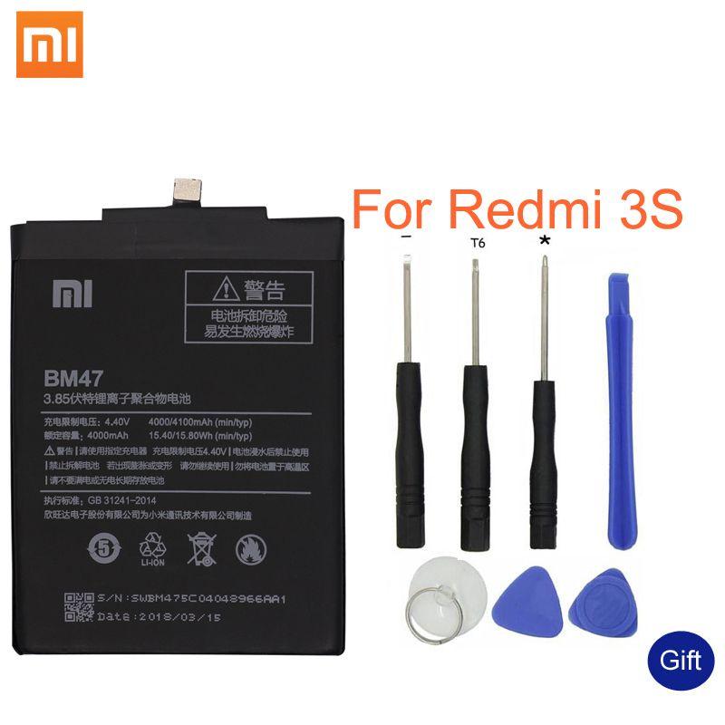 Xiao mi Original Téléphone Batterie BM47 Haute Qualité Capacité 4000 mAh Batterie De Remplacement Pour Rouge mi 3 3 S 3X4X3 pro Hong mi 3 S 4 X