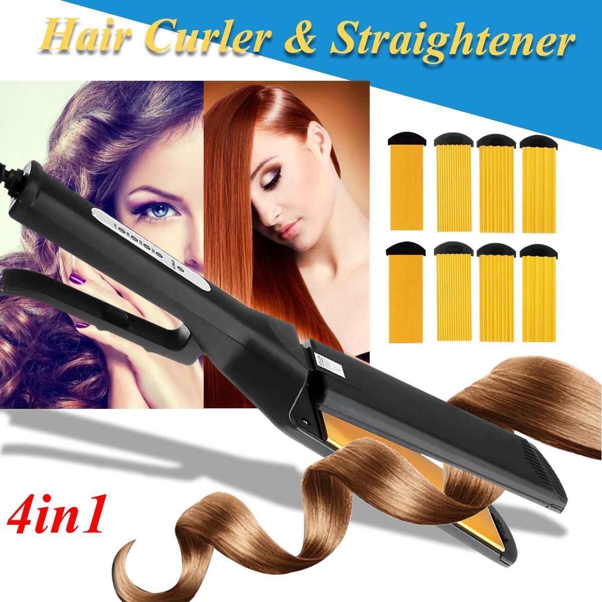 Professional 4 in 1 Hair Salon Ceramic Curling Styler Wave Straightener Curler Corn Wave Interchangeable Curling Irons Crimpers