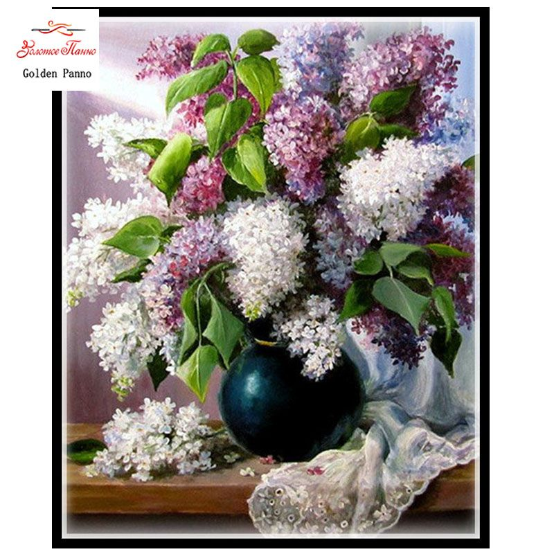 Needlework,DIY DMC 14CT unprinted Cross stitch Embroidery,Lilac Flowers Counted White canvas Cross-Stitching handmade