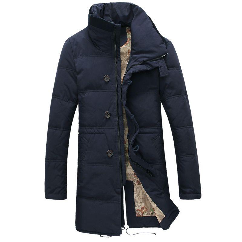 Big Size White Duck Down Long Jacket Men Thicken Warm Varsity Jacket Autumn Winter Windbreak Parka Slim Fit Casual Outwear Coat