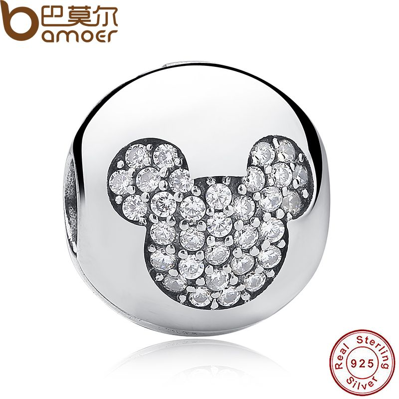 Sterling Silver 925 Whimsy Fun Mickey Pave Clip Charms and beads Fit Bracelet & Necklace Jewelry Accessories PAS192