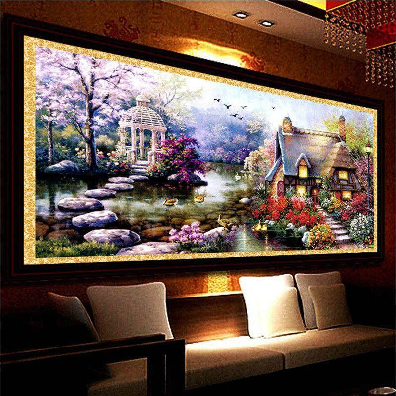 New Hot DIY 5D Diamond Mosaic Landscapes Garden <font><b>lodge</b></font> Full Diamond Painting Cross Stitch Kits Diamond Embroidery Home Decoration