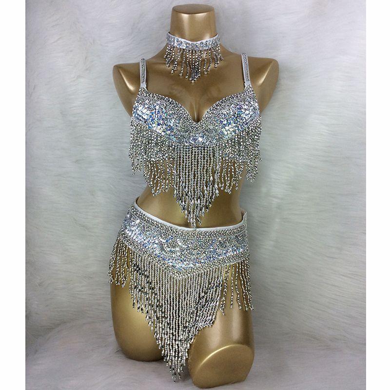 Gros costume de danse du ventre 3 pièces/ensemble (soutien-gorge + ceinture + collier) or et argent blanc 4 couleurs # TF201, 34D/DD, 36D/DD, 38/D/DD, 40B/C/D, 42D/DD