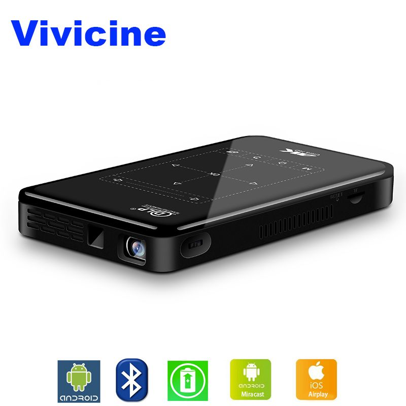 Vivicine 4 karat Mini Projektor Android Bluetooth, 4000 mah batterie, Unterstützung Miracast Airplay Handheld Mobile Projektor Video Beamer