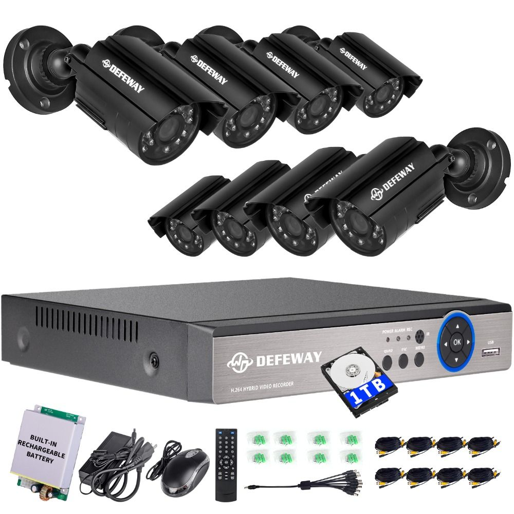 DEFEWAY 1080N 8 Channel System Video Surveillance 1TB HDD DVR KIT 8PCS Outdoor IR Night Vision 1.0 MP with Emergency battery