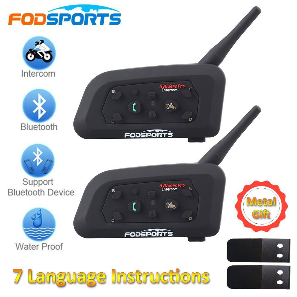 2018 Fodsports 2 pcs V6 Pro <font><b>Motorcycle</b></font> Helmet Bluetooth Headset Intercom 6 Riders 1200M Wireless Intercomunicador BT Interphone