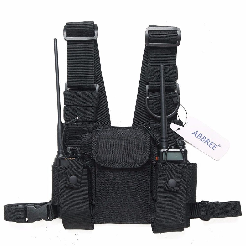 ABBREE Radio Harness chest Front Pack Pouch Holster Carry bag for Baofeng UV-5R UV-82 UV-9R BF-888S TYT Motorola Walkie Talkie