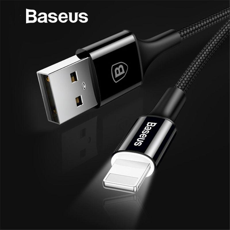 Baseus LED beleuchtung Ladegerät Kabel Für iPhone X 8 7 USB Kabel Für iPhone iPad Schnelle Lade Ladegerät Kabel Mobile telefon Daten Kabel