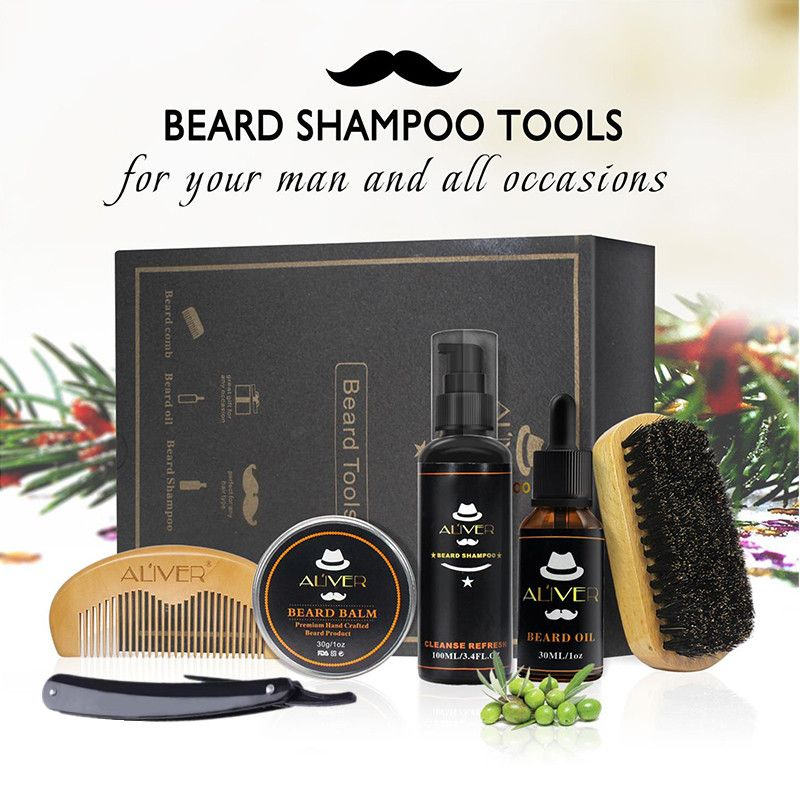 Aliver Clean Set avec shampooing essentiel brosse peigne huile crème pour hommes fait doux nettoyer rafraîchir et Nature toilettage kit de rasoir