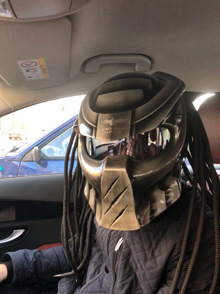 Fireyouracing Predator Carbon Fiber Motorrad Helm Full Face Eisen Krieger Mann Helm DOT Grau durch Hand Farbe DIY