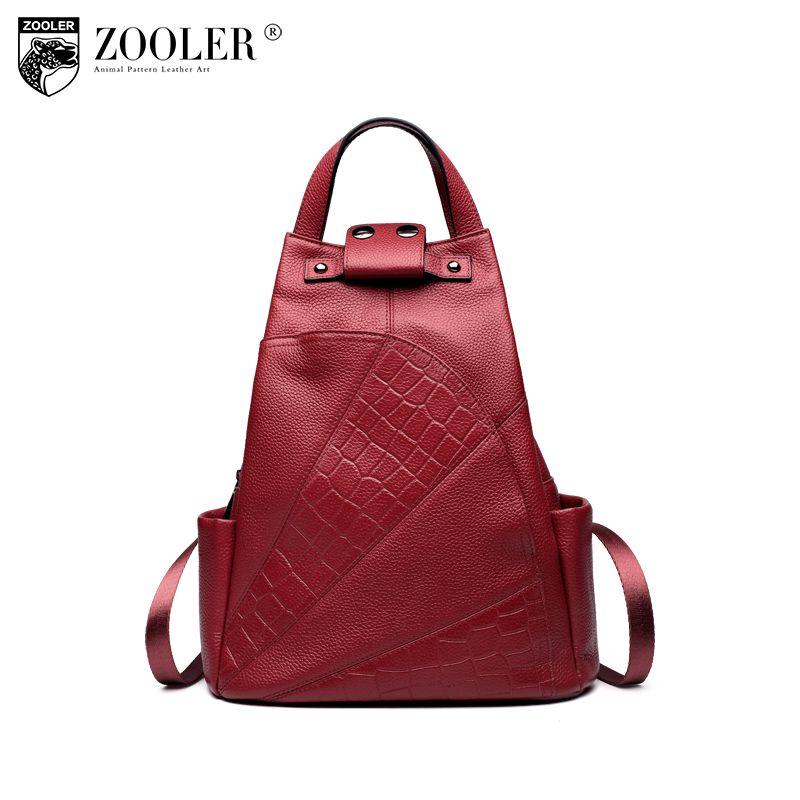 Zooler рюкзак из натуральной кожи школьная сумка аллигатора Высокое качество двойной ремень сумки для девочки бренд дорожные сумки B151