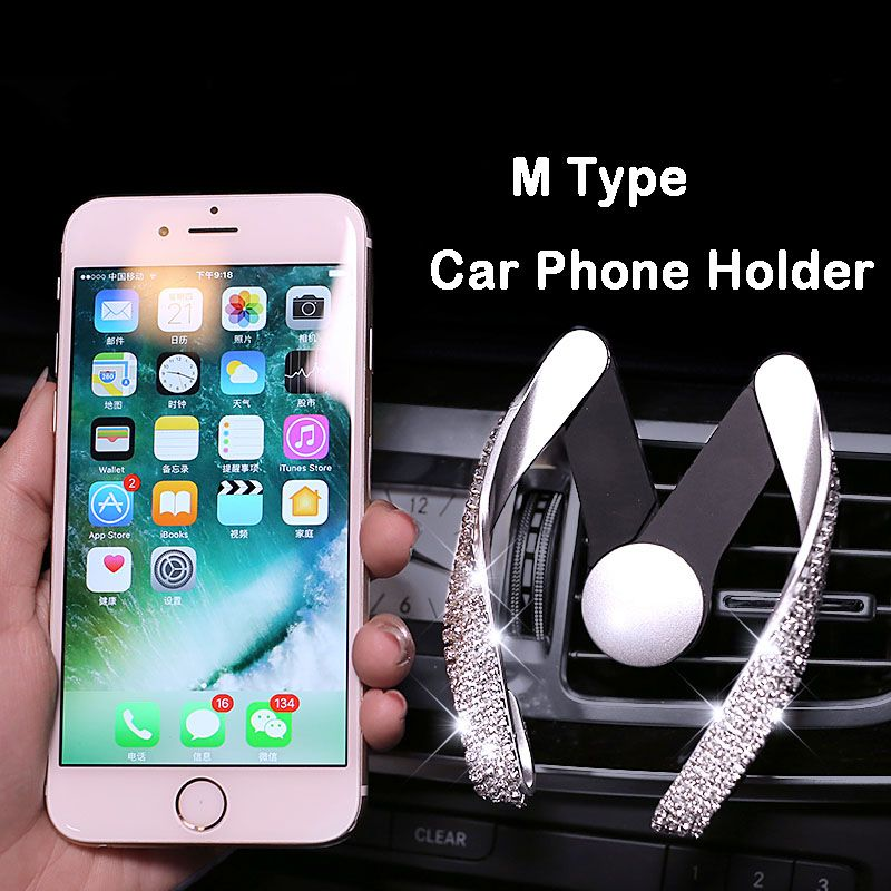 Crystal Rhinestone Car Mobile Phone Holder Air Vent Mount Diamond ABS Phone Stand Holder Adjustable for iPhone GPS Car Styling