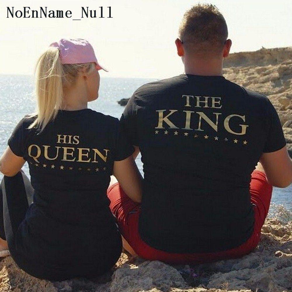 NoEnName_Null À Manches Courtes Tops Pour Femmes 2017 D'été Roi Reine lettre Pinted T-shirt Occasionnel Noir Top Sexy Couples T chemises