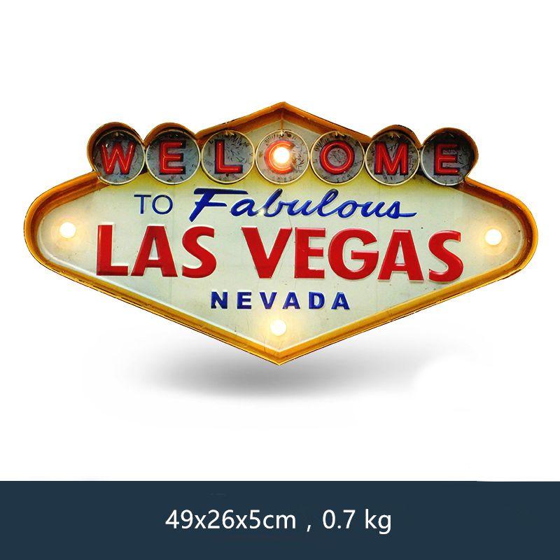 Las Vegas bienvenue enseigne au néon pour Bar Vintage décor à la maison peinture illuminé suspendus métal signes fer Pub café décoration murale
