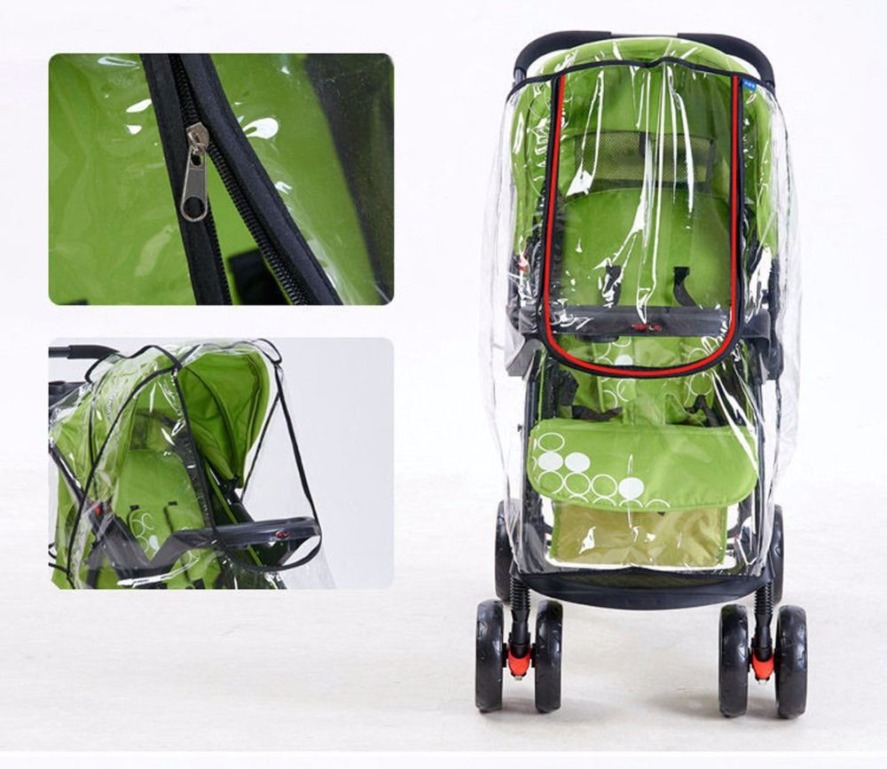 Portable Baby Stroller Accessories Universal Waterproof Rain Cover Wind Dust Shield Zipper Open For Baby Strollers Pushchairs