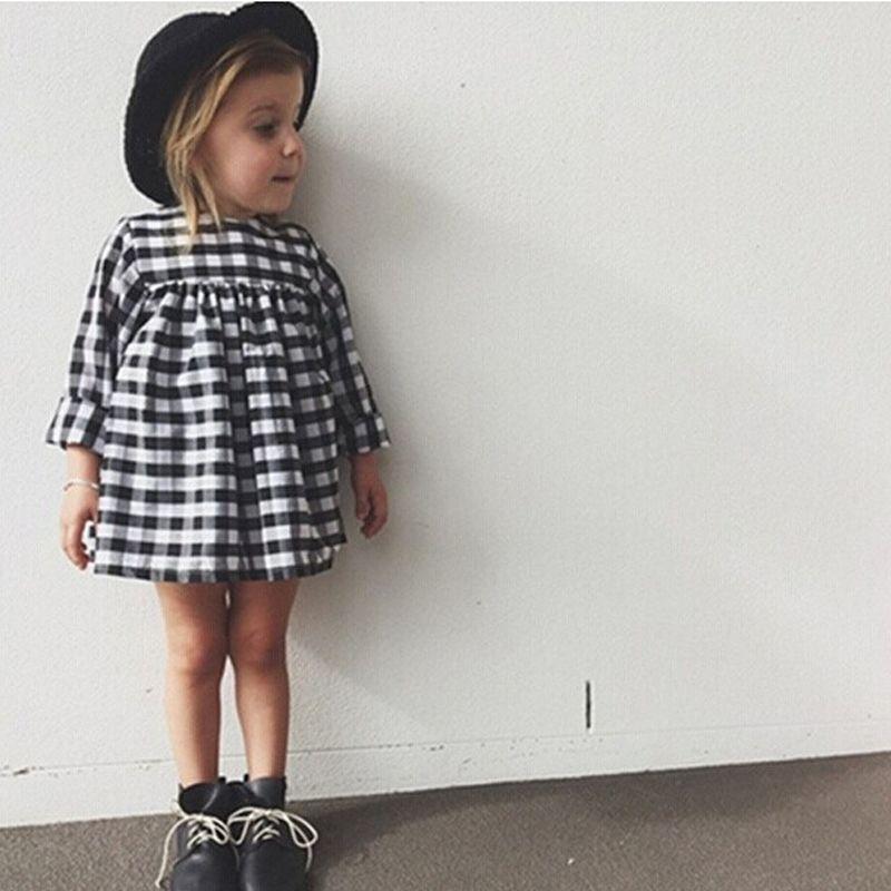 Nouveau 2018 Bébé Filles Costume Robe Pour Les Filles À Manches Longues Plaid Européenne Robe Vetement Fille Mini Robes Kids Party Vêtements