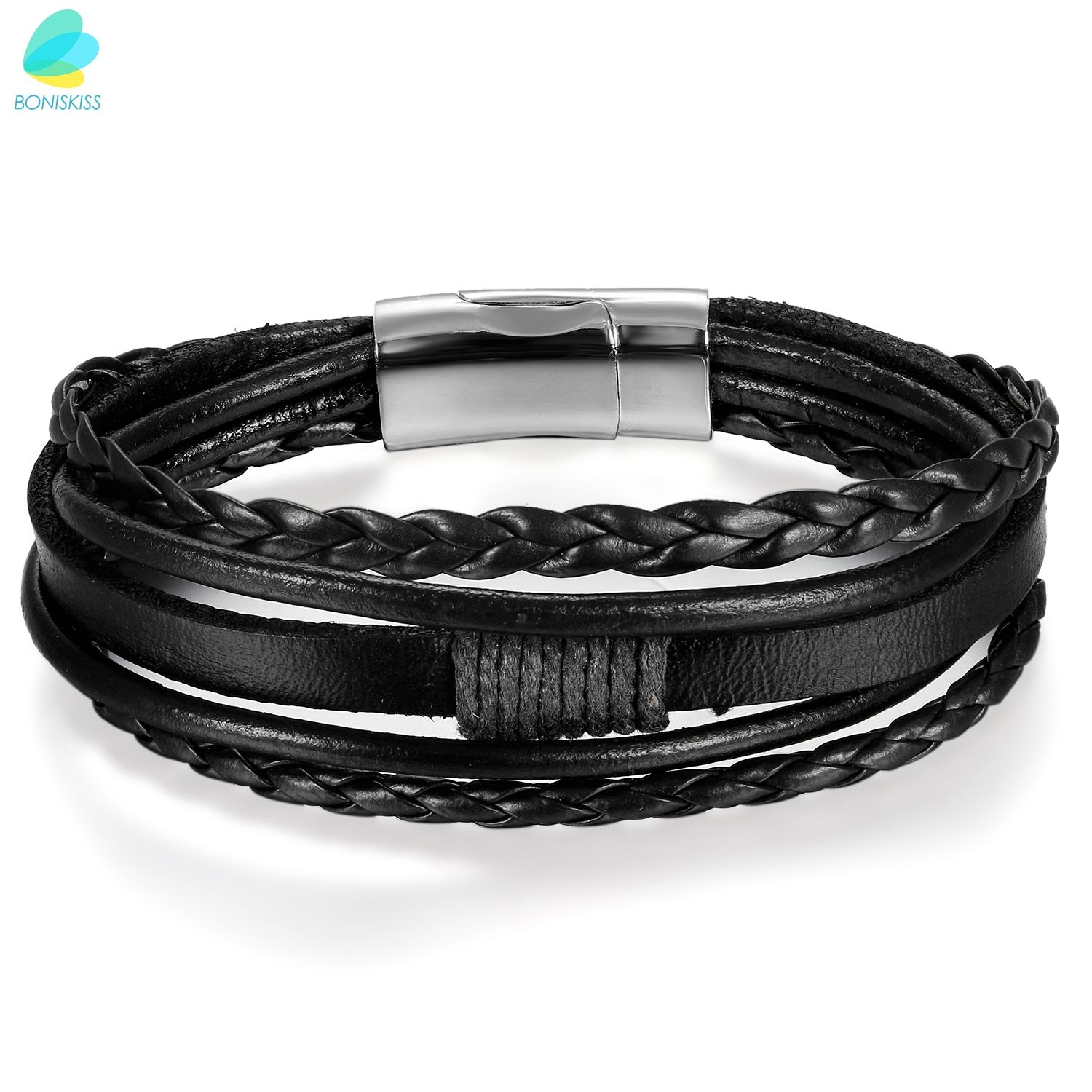 BONISKISS Black Brown Five Layer Hand Made PU Leather Woven Bracelet Bangle