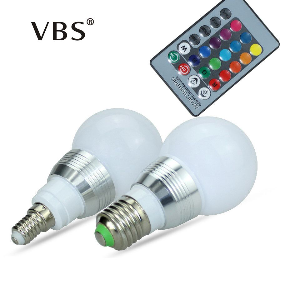 E27 E14 RGB Bulb Lamp AC100-240V 3W LED Spot Light Dimmable Magic Holiday RGB Lighting IR Remote Control 16 Colors 270 Degree