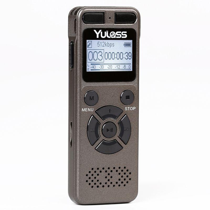 Yulass 8GB professionnel enregistreur Audio entreprise Portable enregistreur vocal numérique prise en charge USB multi-langue, carte Tf à 64GB