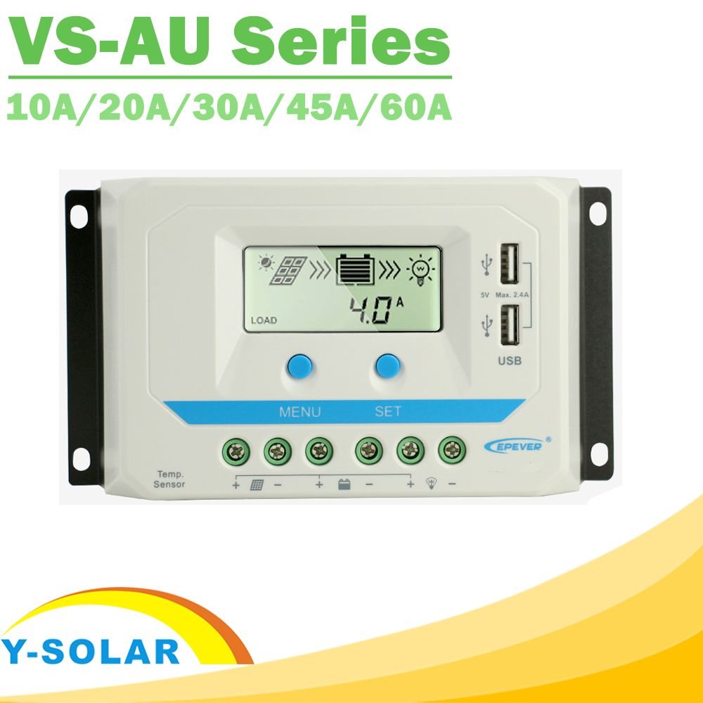 EPever PWM 10A/20A/30A/45A/60A Solar Charge Controller VS-AU Series Backlight LCD Dual USB PV Charger Regulator for Solar Home