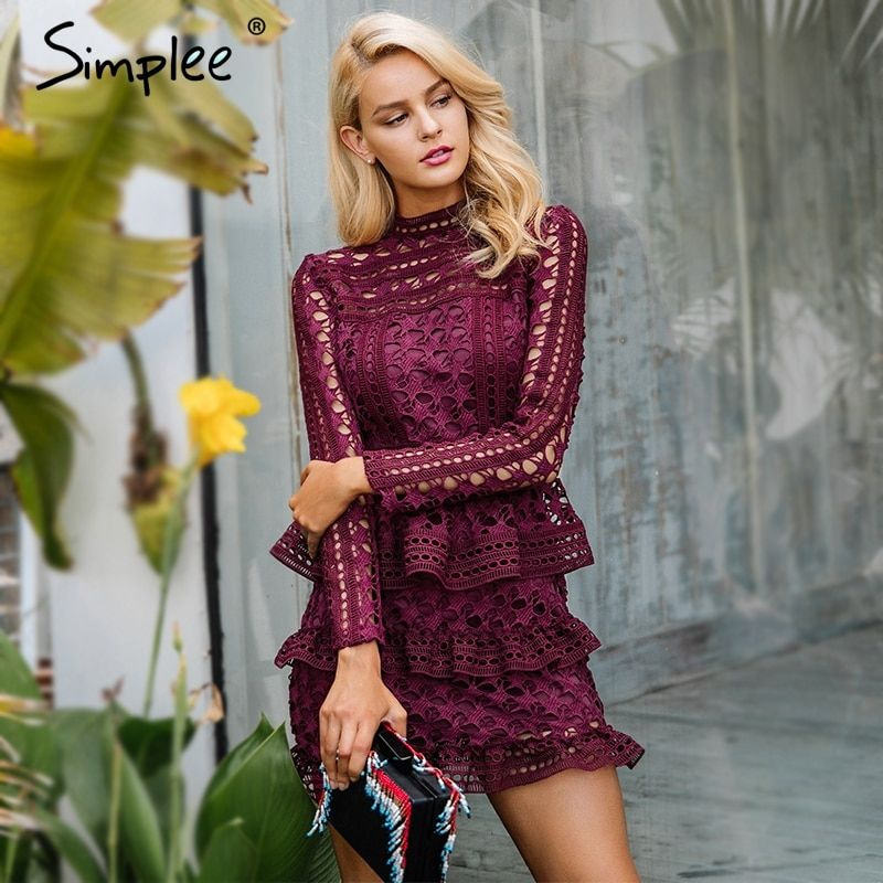 Simplee Elegant <font><b>hollow</b></font> out ruffle lace dress Women vintage long sleeve slim short dress Sexy christmas party dress vestidos
