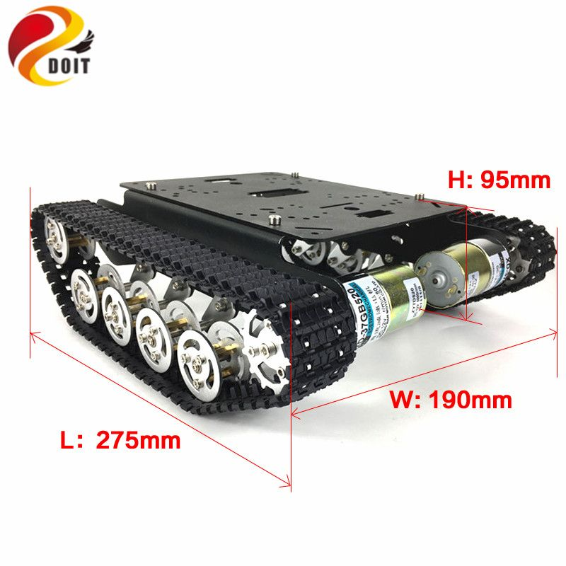 DOIT New Design Golden Yellow Damping Robot Tank Car Chassis TS100 with Shock Suspension Caterpillar Tractor Track Clawler RC