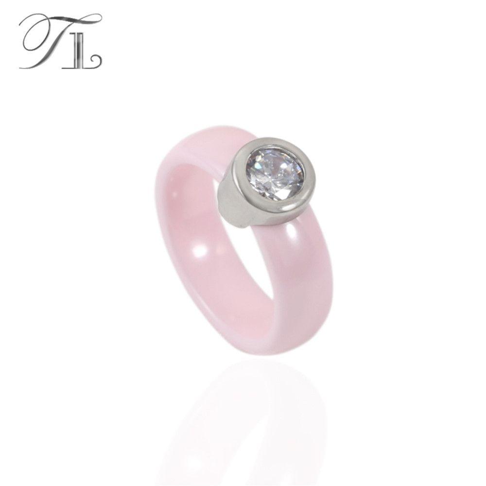 TL Rosa Keramik Ringe Für Frauen Edelstahl Silber Basis Mikro Pflastern Einstellung Riesige Zirkon Spezielle Verlobungsring Keramik Ring