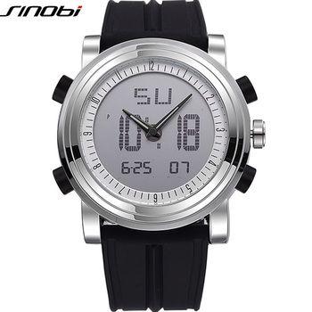 SINOBI Многофункциональный цифровой спортивные мужские часы Водонепроницаемый резиновый ремешок для часов бренд мужской военной Женева Квар...