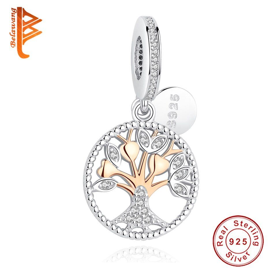 BELAWANG 2016 Christmas Gift Gold Family Tree Silver Dangle Charms Fit Original BW Bracelets 925 Sterling Silver Jewelry