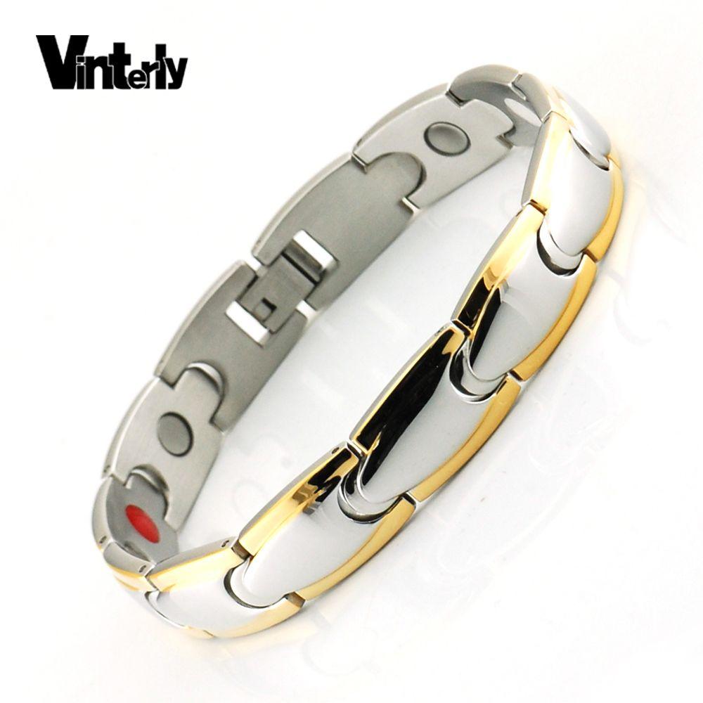 Vinterly Magnétique Bracelet Hommes En Acier Inoxydable Aimant D'ions Germanium Infrarouge Couleur Or Bracelets Bracelets pour Hommes Chaîne de Main