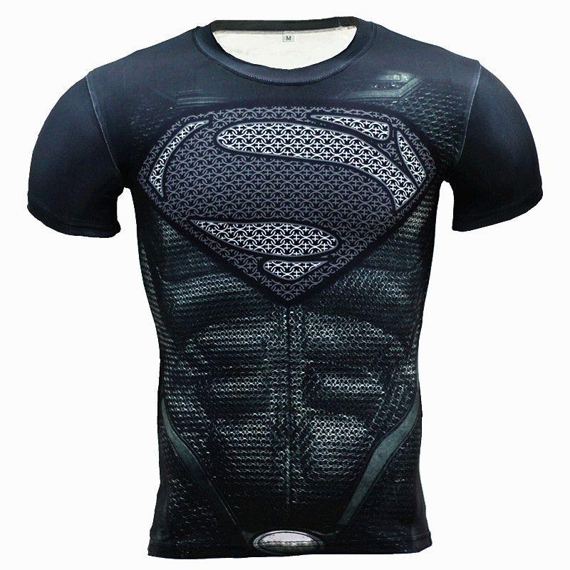 Nouveau Fitness Compression chemise hommes Anime super-héros punisseur crâne capitaine américain 3D t-shirt musculation entraînement t-shirt