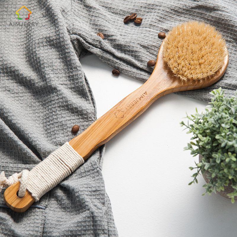 Aimjerry Poils Naturels Long Anti-slip Poignée En Bois Corps Maasage Soins De Santé Bain Brosse pour le corps de bain gommage