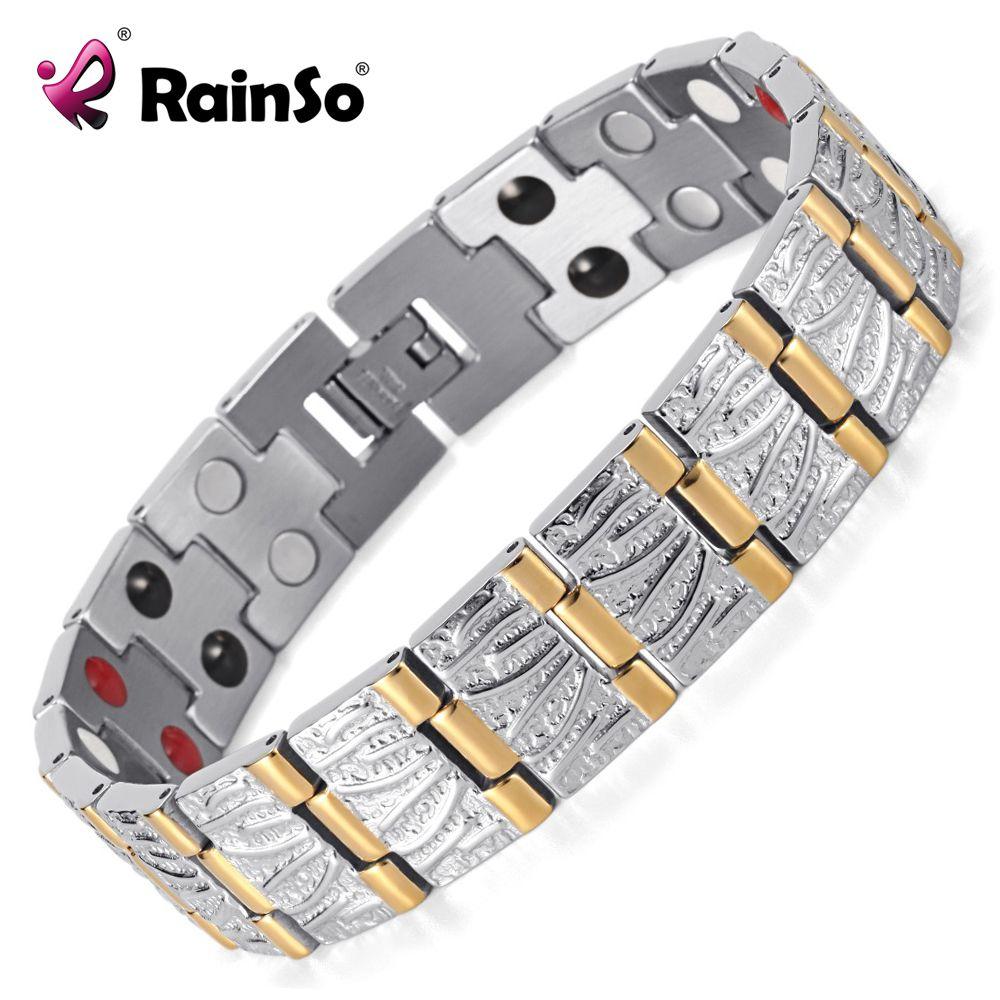 Rainso Bijoux cadeau d'anniversaire Pour Hommes Couple Or Placage Santé Germanium Acier Bio bracelet en acier inoxydable magnétique OSB-065