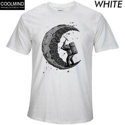 100% coton creuser la lune imprimer casual mens o-cou t chemises de mode hommes tops hommes T-shirt à manches courtes hommes t-shirt 2017