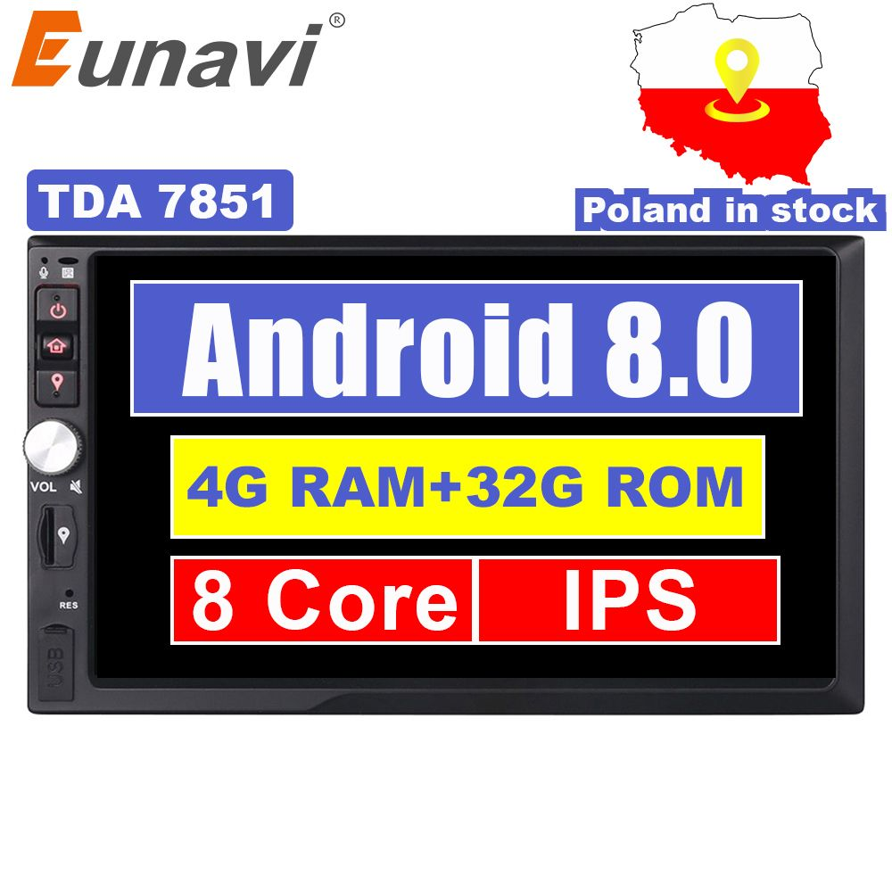 Eunavi 2 Din 7'' Octa core Universal Android 8.0 4GB RAM Car Radio Stereo GPS Navigation WiFi 1024*600 Touch Screen 2din Car PC