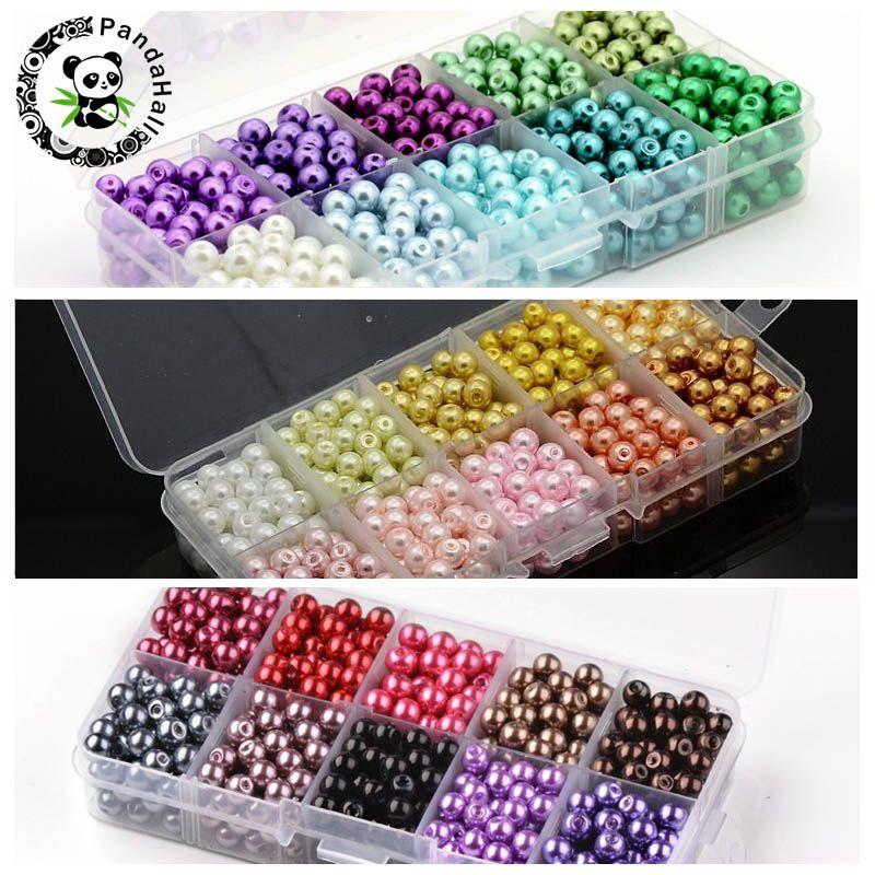 6mm 550 pcs Couleur Mélangée Ronde Imitation Perle Perles Perle de Verre En Vrac Pour Fabrication de Bijoux Fit Main DIY Bracelet collier