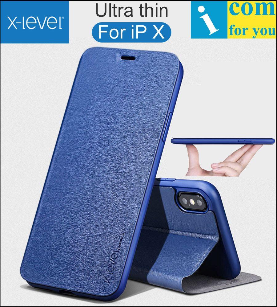 X-уровень книга кожа флип чехол для iPhone X fibcolor ультра тонкий х уровень бумажник ТПУ