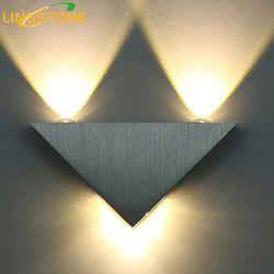 Lámpara de pared moderna LED 3 W aluminio Cuerpo triángulo pared para dormitorio Iluminación baño luminaria lámpara de pared aplique