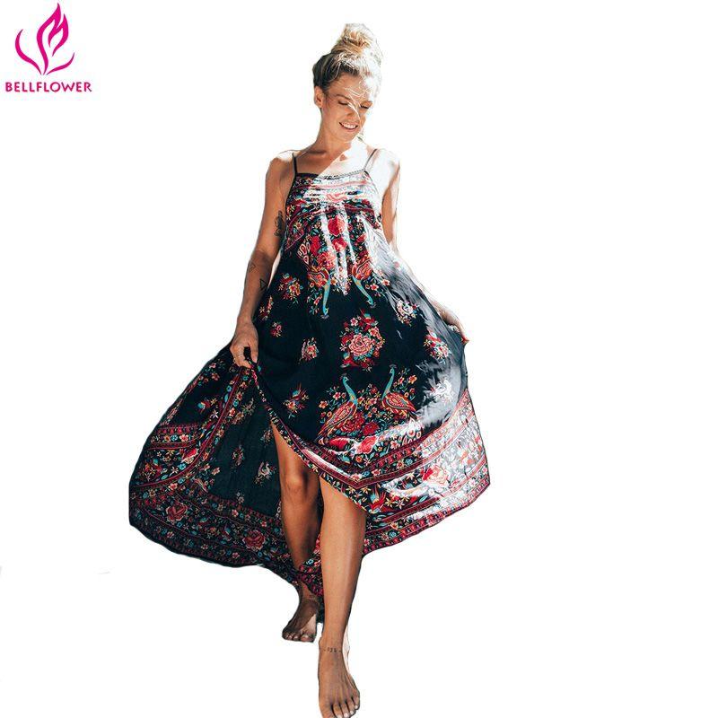 Robe de plage femmes d'été Etehnic Sexy rétro imprimé Vintage Robe sans manches lâche Robe bohême Hippie Robe Vstidos Mujer