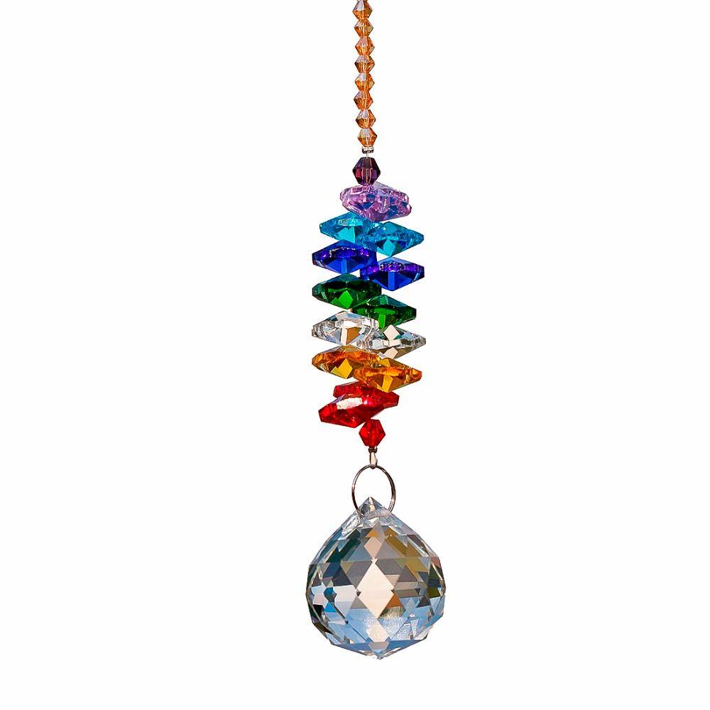H & D 24 cm Lustre Cristaux Boule Prism Pendentif Arc-En-Maker Chakra Cascade Suncatcher