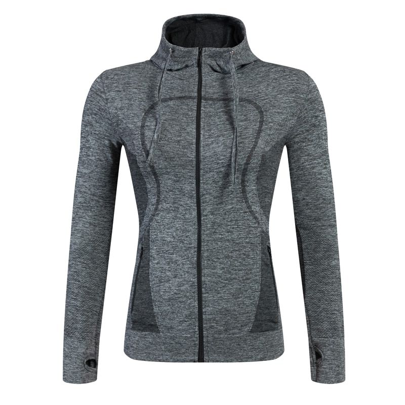 Brand New Fitness Yoga Gym Wear Long Sleeves Hooded Coat Compression Training Clothing Sportswear Black Running Jackets Women