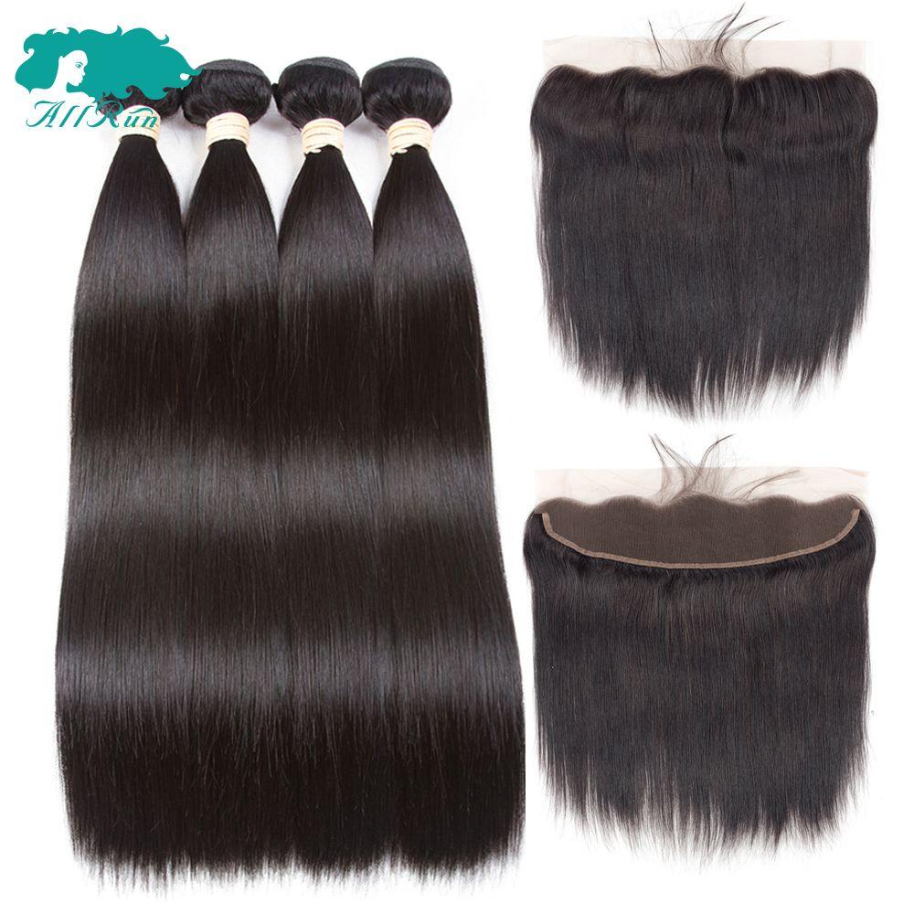 Allrun 2/3 paquets avec frontale brésilienne droite cheveux humains armure faisceaux avec fermeture dentelle frontale Non Remy Extension de cheveux
